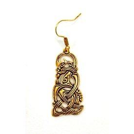 Viking dragon örhängen, brons