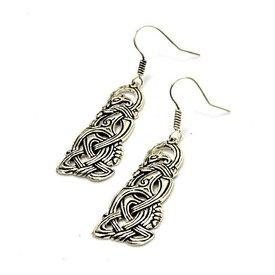 Viking dragon earrings, silvered