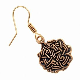 Earrings Viking knot, bronze