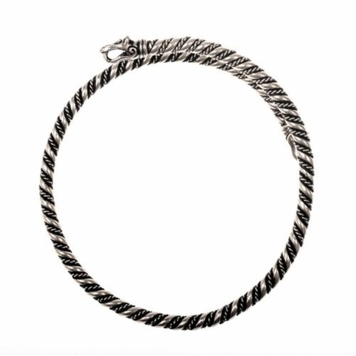 Viking oberen Armband mit Wolf Köpfen, versilbert