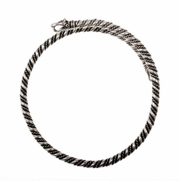 Viking øverste armbånd med ulv hoveder, forsølvede