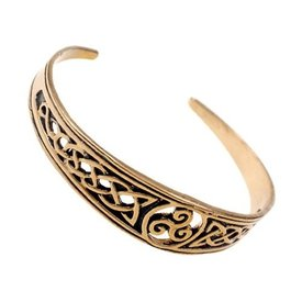 Narrow Celtic bracelet with trisquelion, bronze