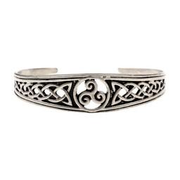 Wąska Celtic bransoletka z trisquelion, posrebrzane
