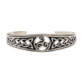 Narrow Celtic bracelet with trisquelion, silvered