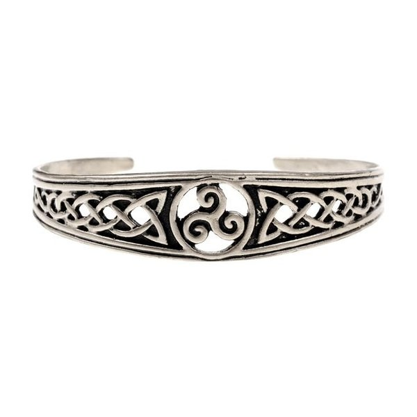 Schmaler Celtic Armband mit trisquelion, versilberte