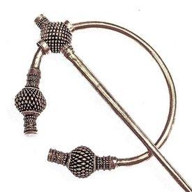 Viking thistle fibula large, silvered