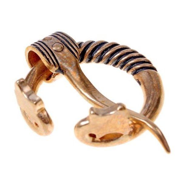 Baltic ring fibula with animal heads, bronze