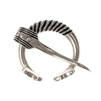 Baltic ring fibula with animal heads, silvered