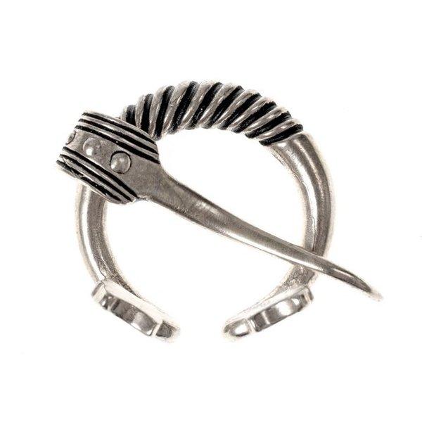 anneau Baltique péroné avec des têtes d'animaux, argentait