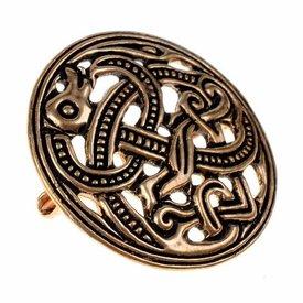 Viking disc fibula Jellinge style, bronze