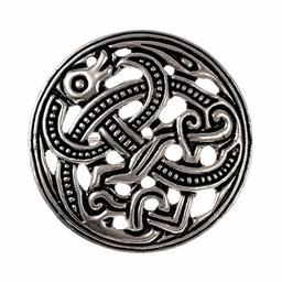 Viking schijffibula Jellingestijl, verzilverd