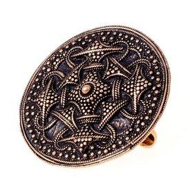 Granulated Viking disc fibula, bronze