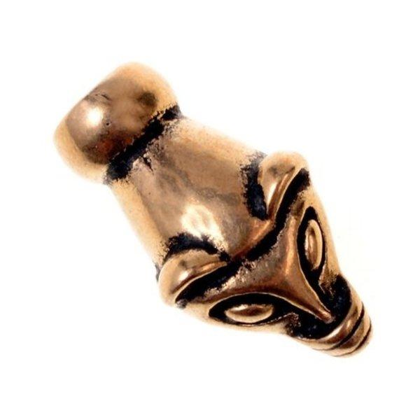 Viking kæde ende væsel hoved, bronze, pris per styk