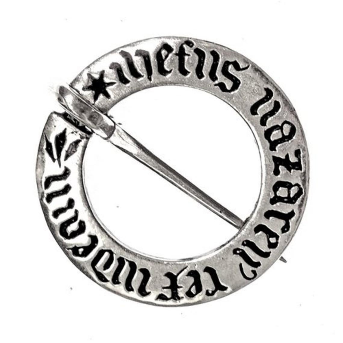 Średniowieczny broszka pierścień posrebrzane