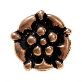 boutons fin du Moyen Age avec rose, bronze, ensemble de 5 pièces