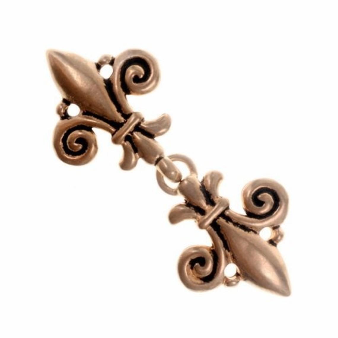 Capa broche de la flor de lis, bronce