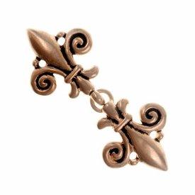 Cloak clasp fleur de lys, bronze