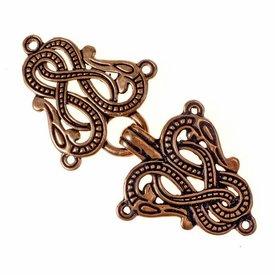 Cloak clasp Midgard snake Urnes style, bronze