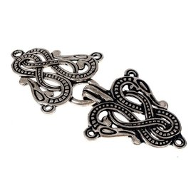 Cloak clasp Midgard snake Urnes style, silvered