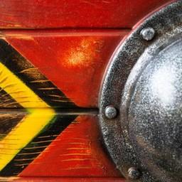 LARP tarcza Thegn, czerwony, 70 cm