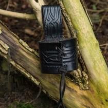 Uchwyt skórzany z podwójną pętlą na miecze LARP, czarny