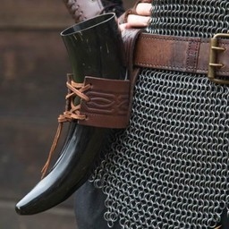 Läder dricka horn hållare Edda, brun