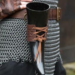 Skórzany uchwyt pitnej róg Edda, brązowy