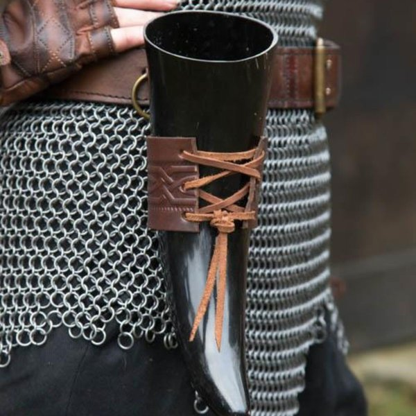 Epic Armoury Skórzany uchwyt pitnej róg Edda, brązowy