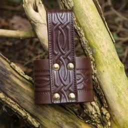 Leather drinking horn holder Edda, brown