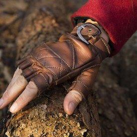 Epic Armoury Gants sans doigts en cuir, marron