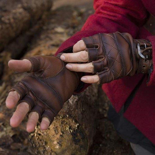 Epic Armoury Skórzane rękawiczki bez palców, brązowe