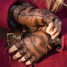 Leather fingerless gloves, brown
