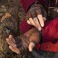 Epic Armoury Guantes de cuero sin dedos, marrones