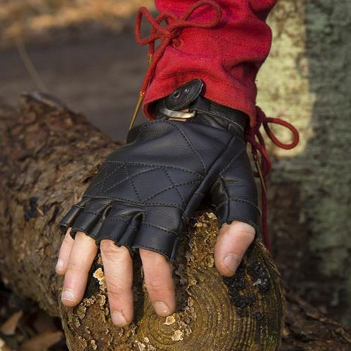 Epic Armoury Leren vingerloze handschoenen, zwart