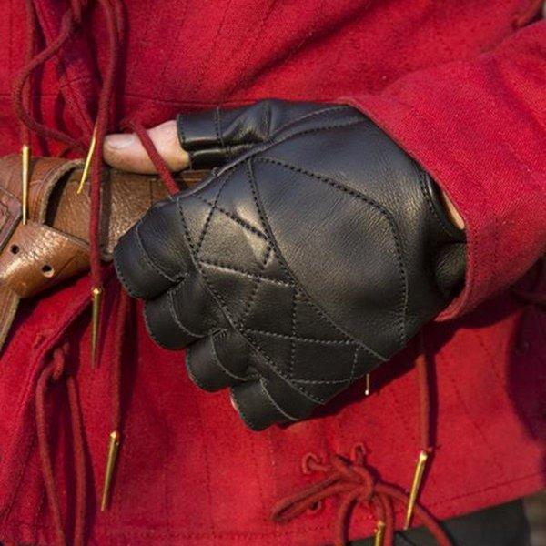 Epic Armoury Gants sans doigts en cuir, noir