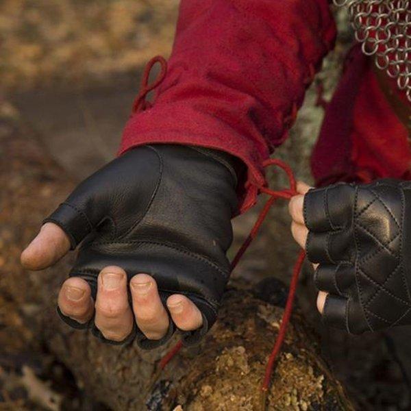 Epic Armoury Fingerløse handsker i læder, sort
