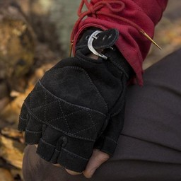 Suede leather fingerless gloves, black