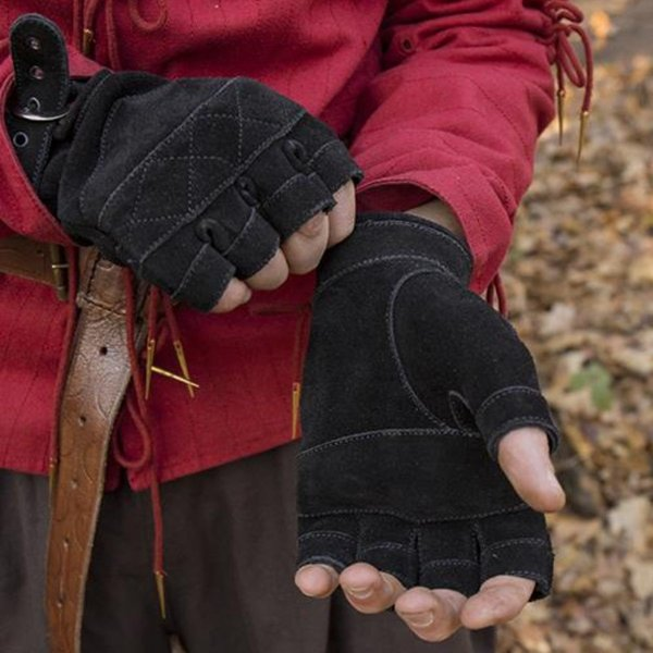 Epic Armoury Gants sans doigts en cuir suédé, noir