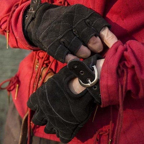 Epic Armoury Guanti senza dita in pelle scamosciata, neri