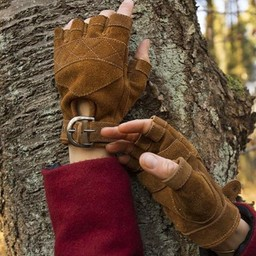 Suede leather fingerless gloves, brown