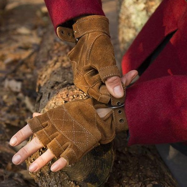 Epic Armoury Suede leather fingerless gloves, brown