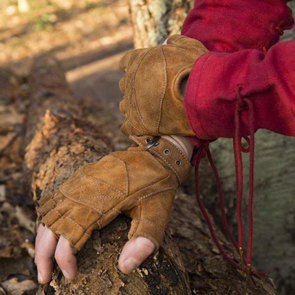 Epic Armoury Zamszowe rękawiczki bez palców, brązowe
