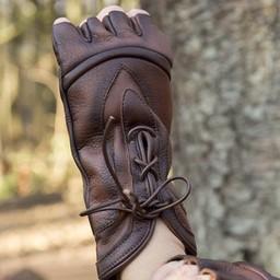 Rękawiczki bez palców ze sznurowadłami, brązowe