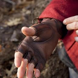 Vingerloze handschoenen met veters, bruin