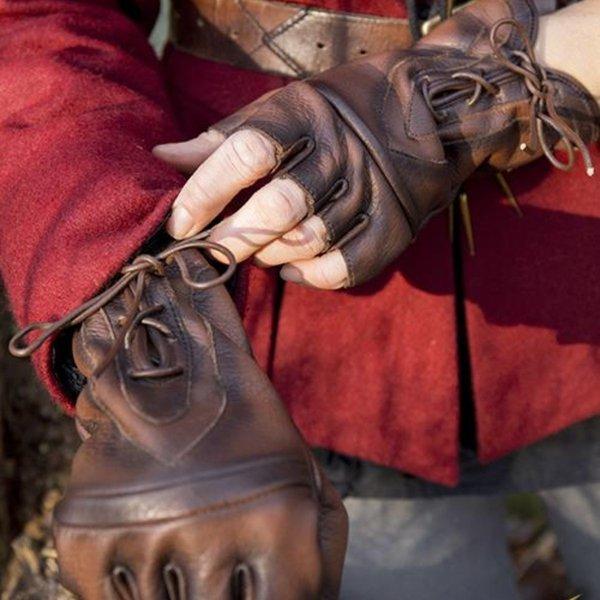 Epic Armoury Rękawiczki bez palców ze sznurowadłami, brązowe