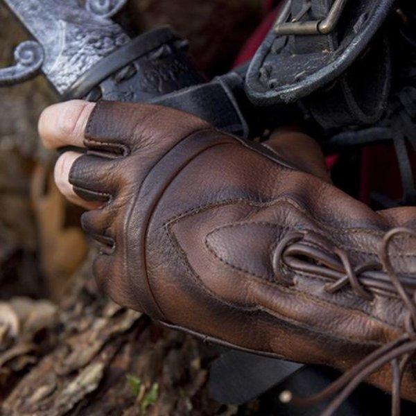 Epic Armoury Fingerlösa handskar med snören, bruna