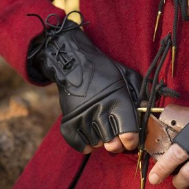 Epic Armoury Fingerlösa handskar med snören, svart