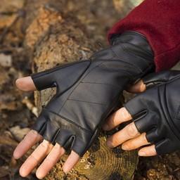 Vingerloze handschoenen met veters, zwart