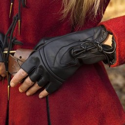 Fingerless gloves with laces, black