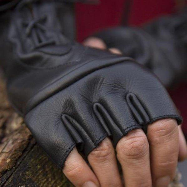 Epic Armoury Guanti senza dita con lacci, neri